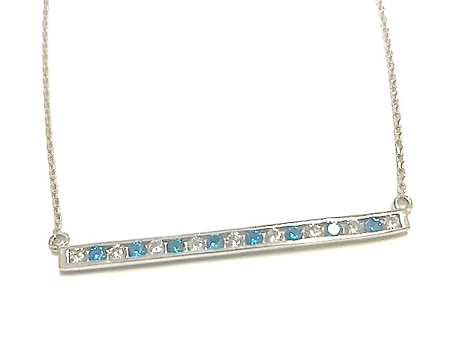 Collier barre - Argent sterling & Zircons cubiques (bleus et blancs)