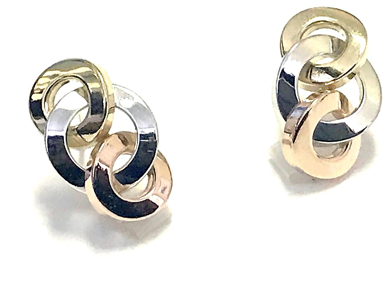 Boucles d'oreilles triple cercle - Or 3 tons 10K