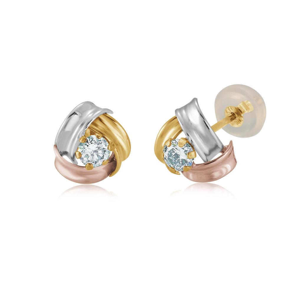 Boucles d'oreilles noeuds - Or 3 tons 10K & Zircons cuniques