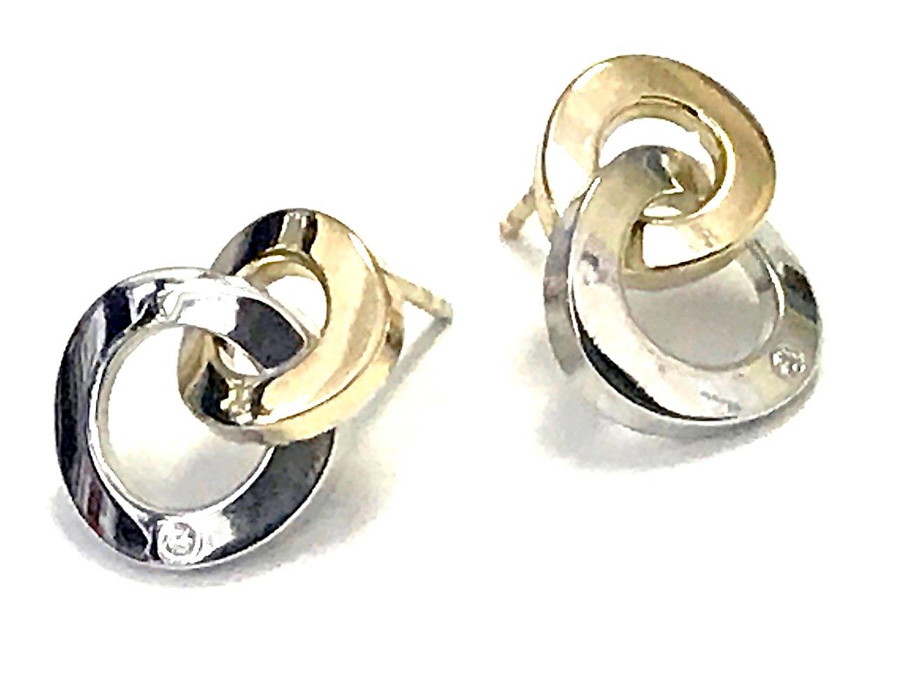 Boucles d'oreilles double cercle - Or 2 tons 10K & Zircons cubiques