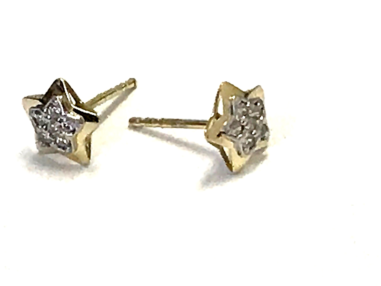 Star earrings - 10K yellow gold & Cubic zirconia