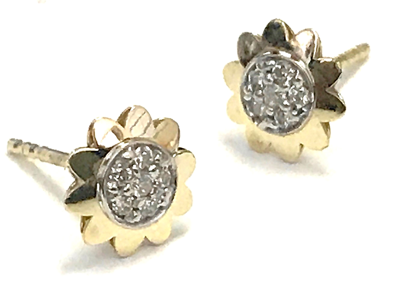 Flower earrings - 10K yellow gold & Cubic zirconia