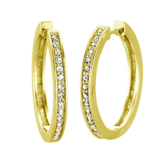 Boucles d'oreilles Anneaux - Or jaune 10K & Diamants totalisant 0.05 Carat - Diamètre:1.3cm