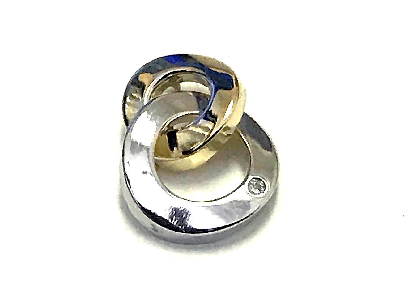 Pendentif double cercle - Or 2 tons 10K & Zircon cubique