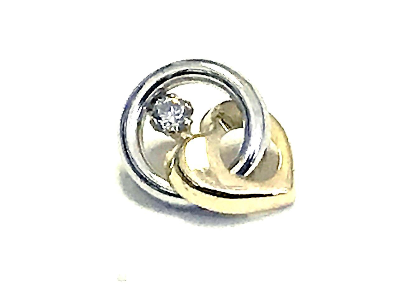 Pendentif cercle et coeur - Or 2 tons 10K & Zircon cubique
