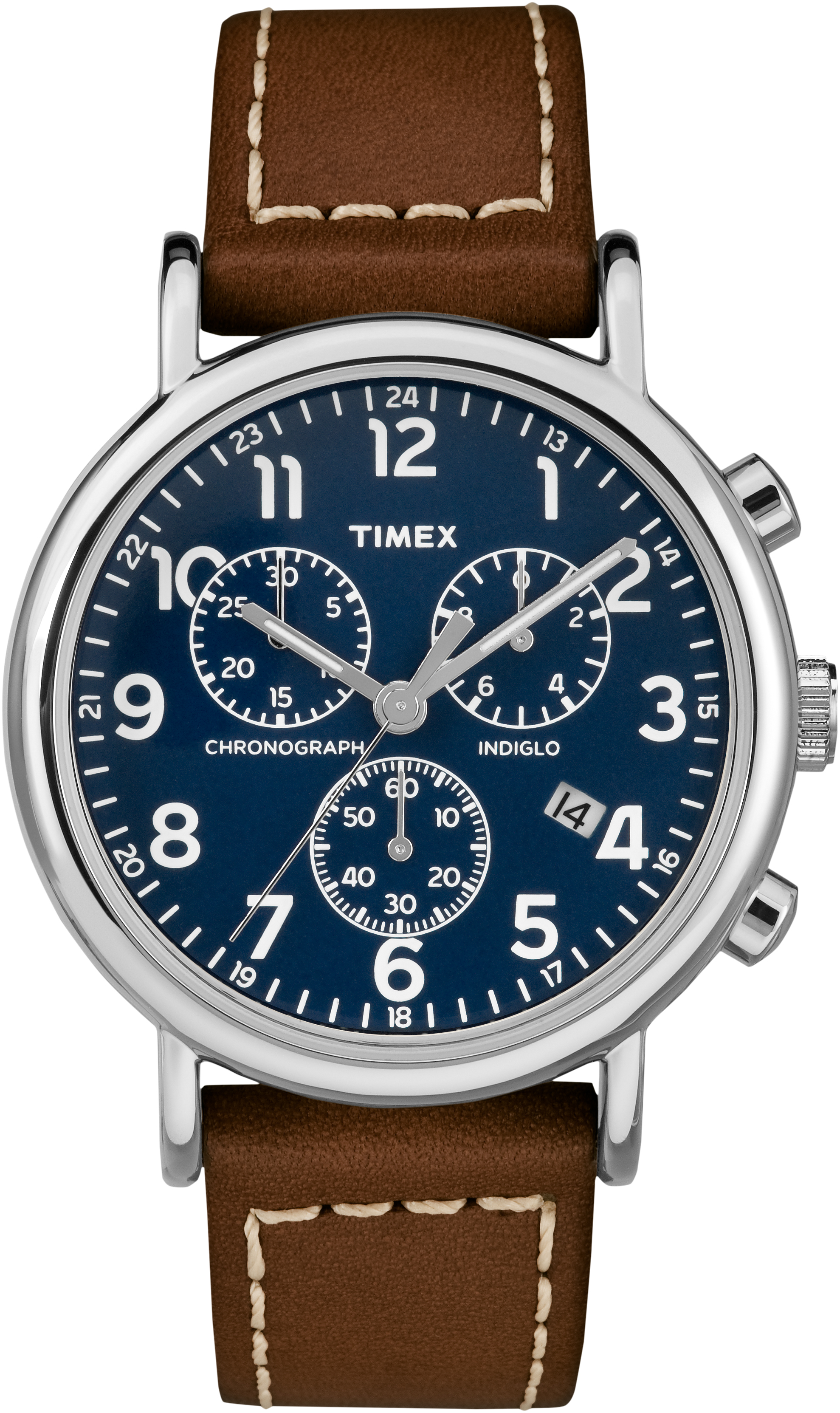 Weekender Chrono Watch for Men - Blue dial & Brown leather band