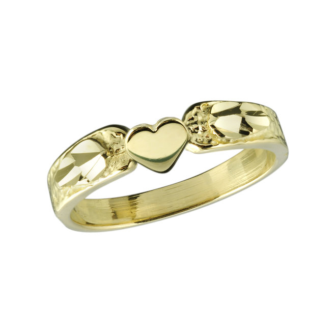 Girl's mini-signet hearts ring with polish and diamond cut finish - 10K yellow Gold