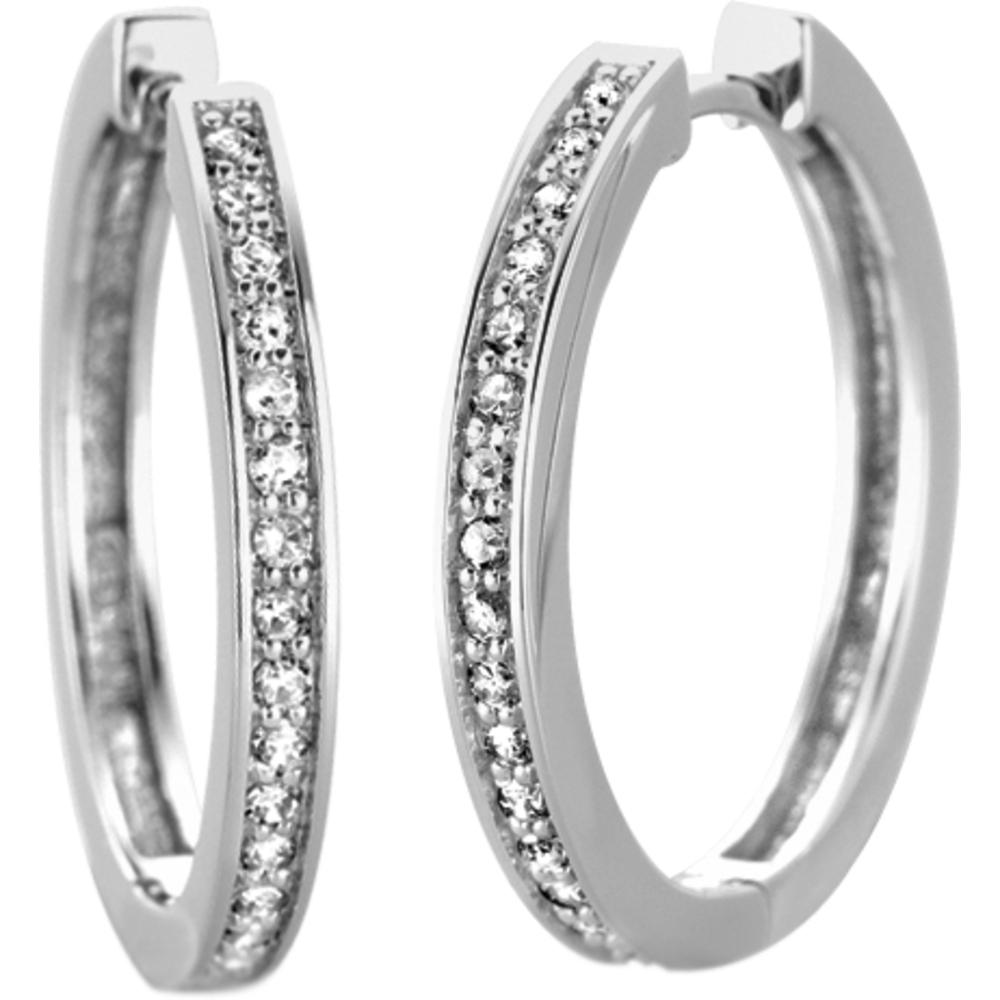 Boucles d'oreilles Anneaux -Or blanc 10K &Diamants totalisant 0.05 Carats - Diamètre:1.3cm