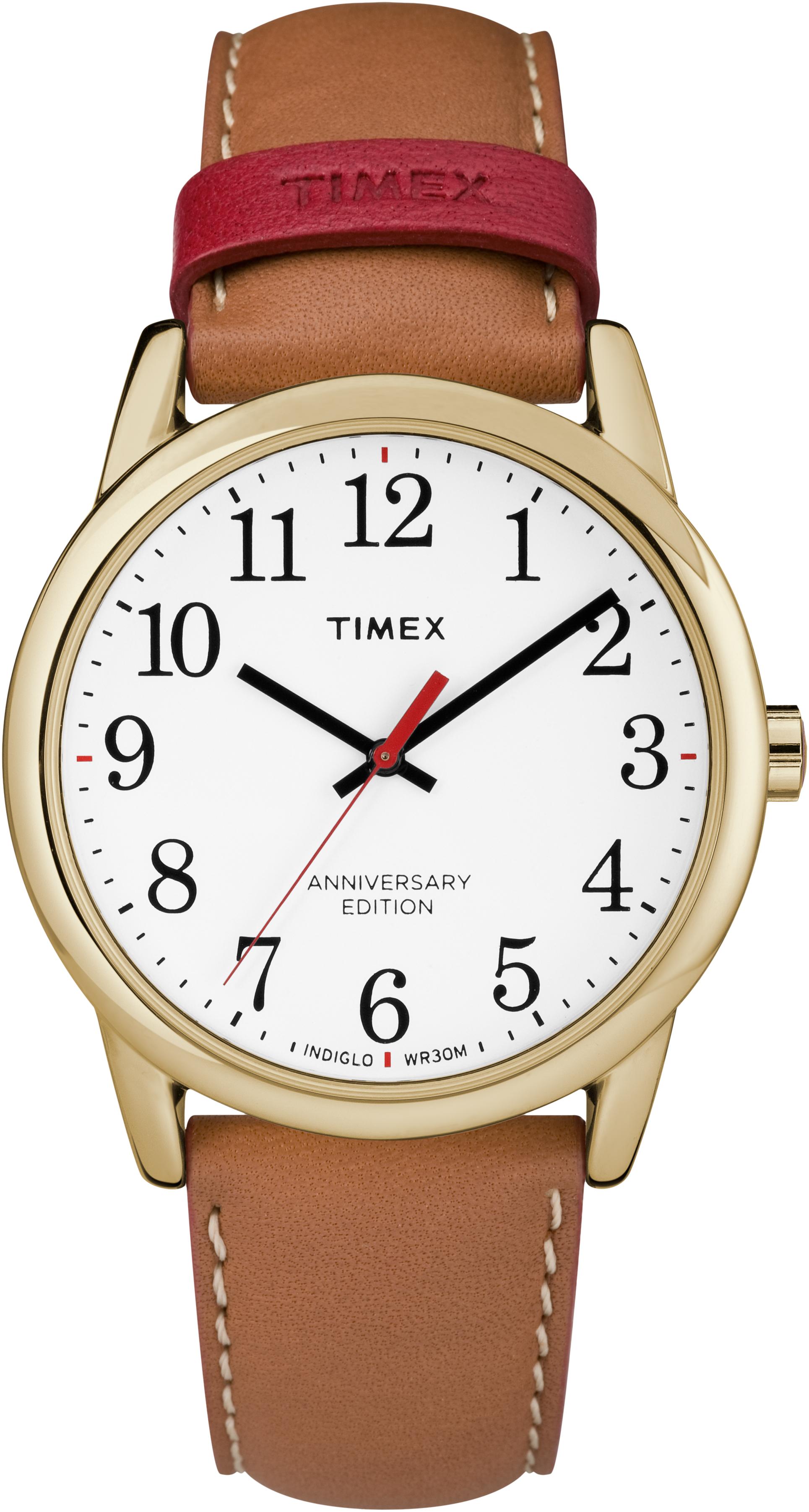Montre Timex 40e anniversaire pour hommes - Cadran blanc & Bracelet en cuir brun
