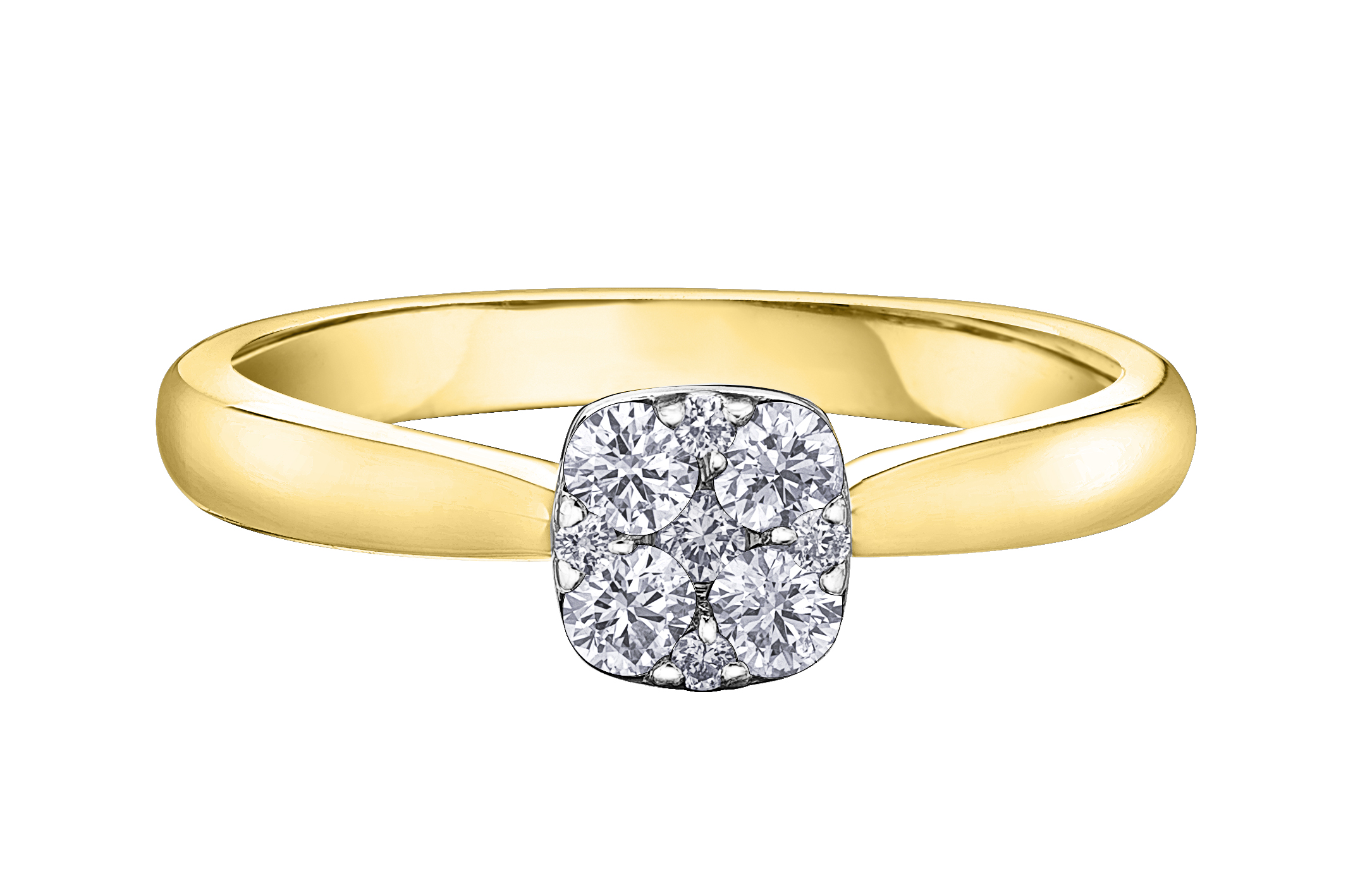 Engagement ring for woman -10K yellow Gold & Diamonds