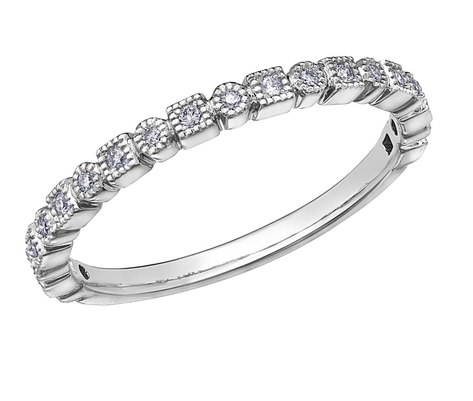 Jonc d'anniversaire - Or blanc 10K & Diamants totalisant 0.10 carat