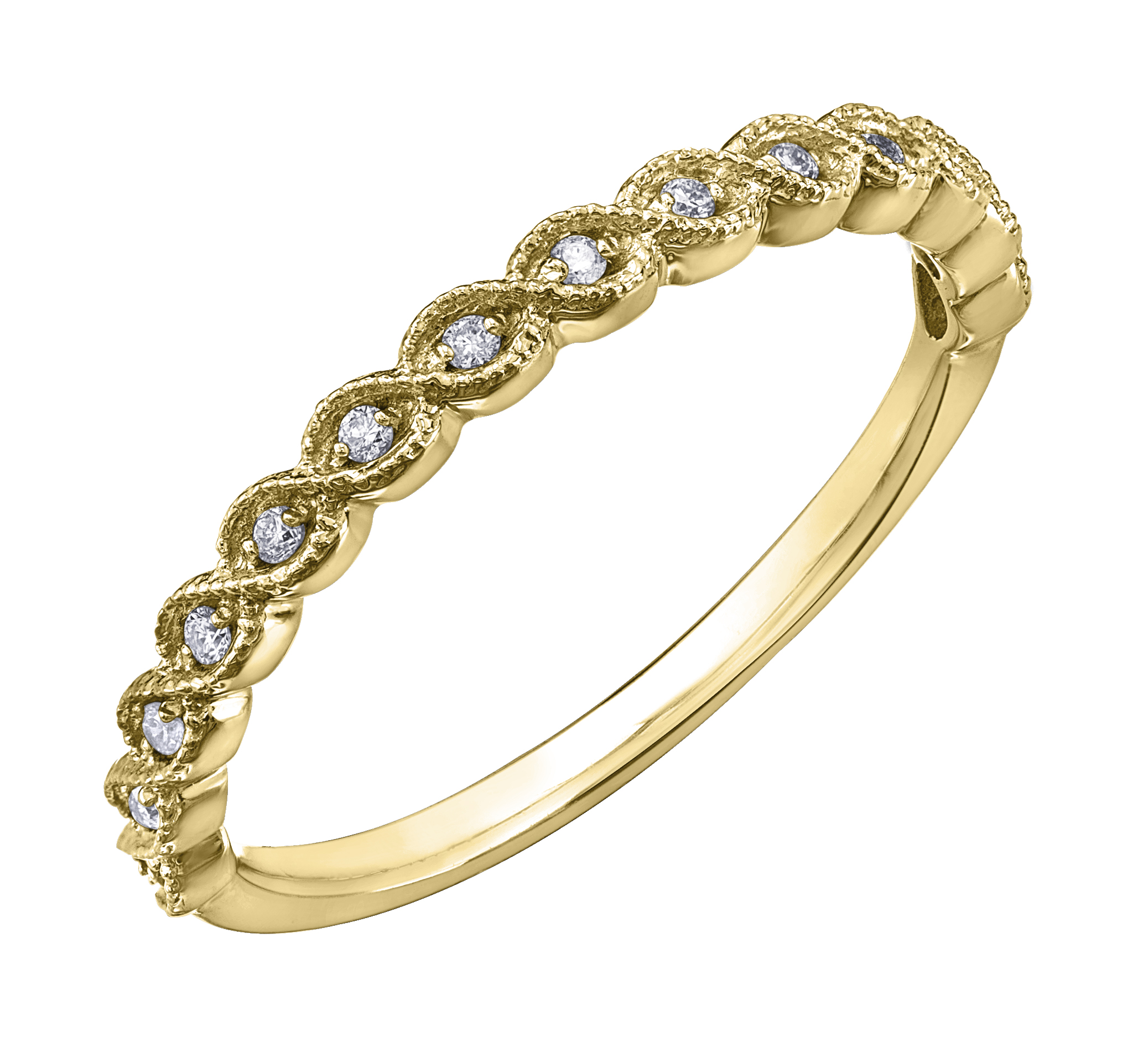 Jonc d'anniversaire - Or jaune10K & Diamants totalisant 0.07 carat