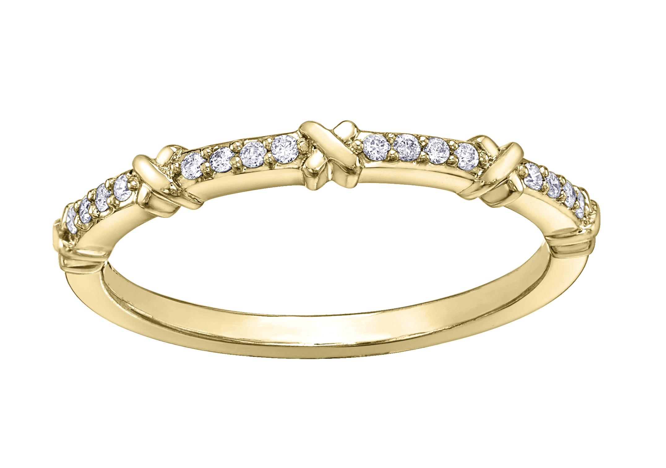 Jonc d'anniversaire - Or jaune10K & Diamants totalisant 0.08 carat