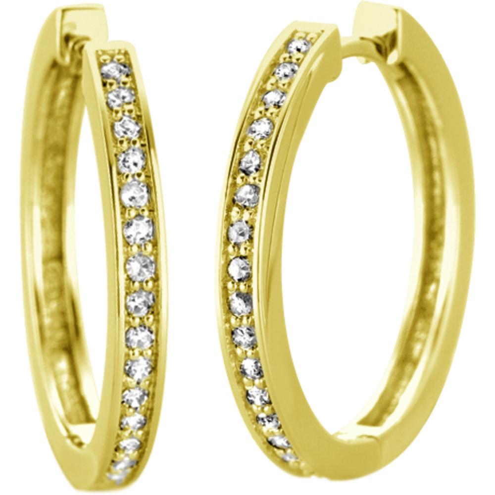Boucles d'oreilles anneaux - Or jaune 10K& Diamants totalisant 0.10 Carat