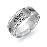 Band for men - White Brushed and Polished Tungsten & Black diamonds T.W. 0.36 carat
