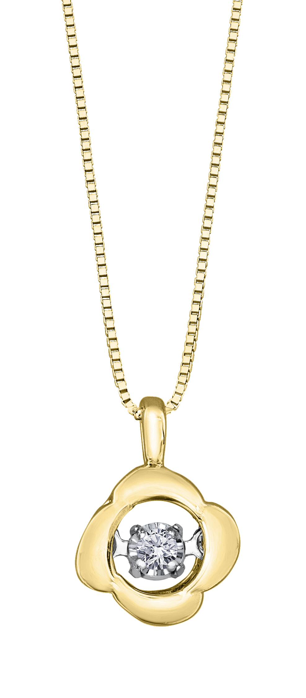 Éclat du Nord Dancing Diamond Pendant - 10K yellow gold & Canadian diamond