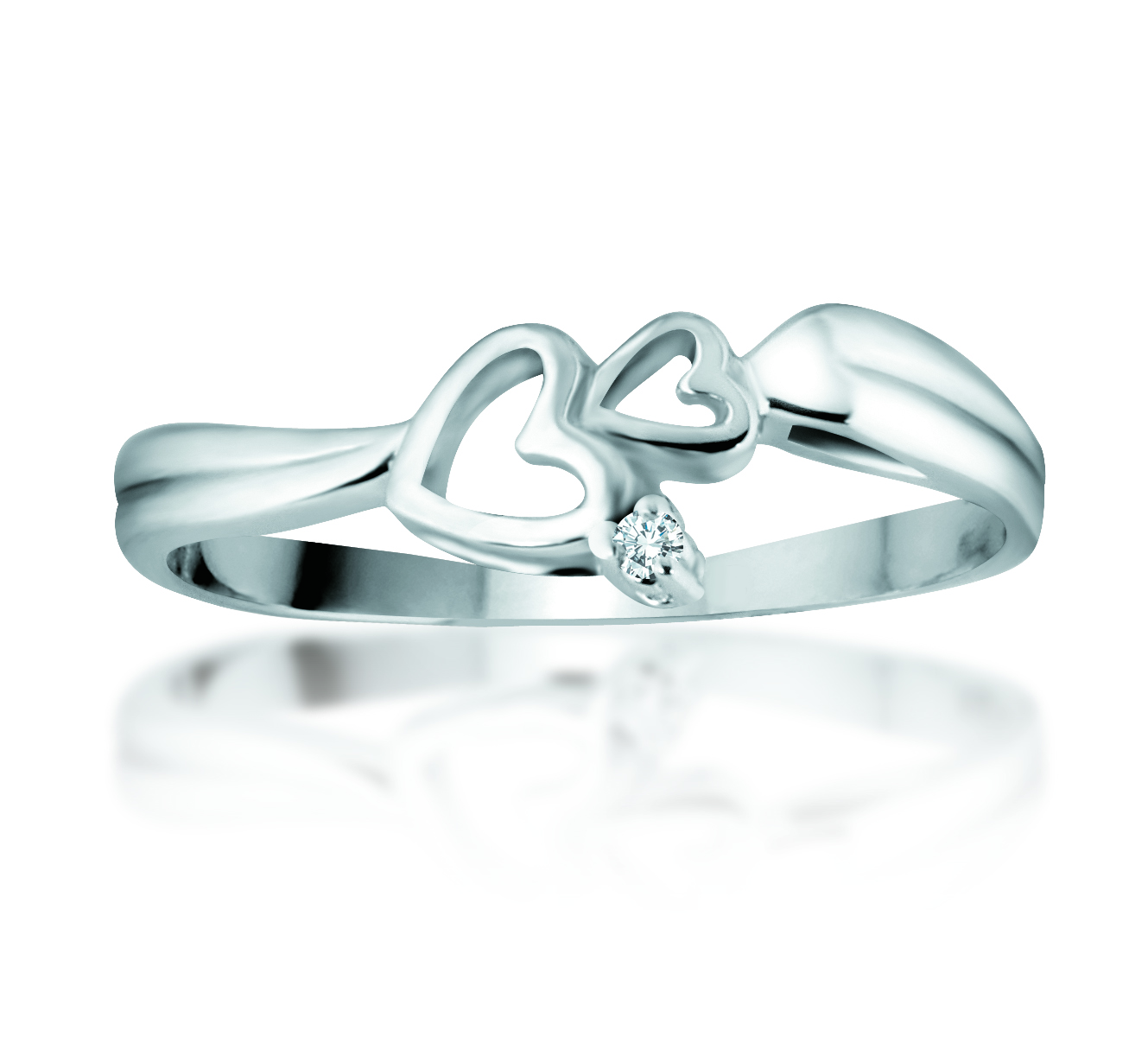Heart ring - 10K white gold & Diamond