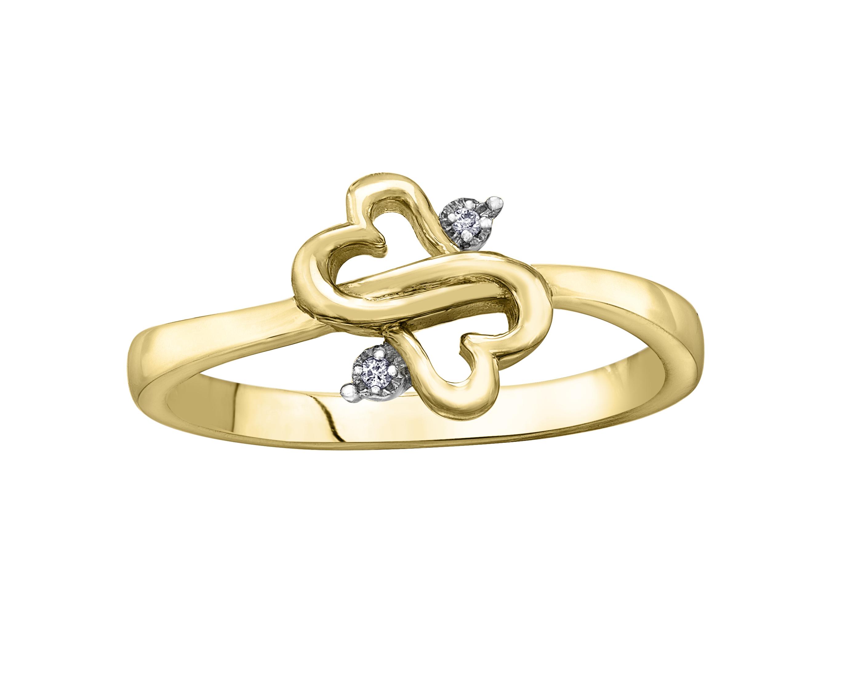 Bague coeurs - Or jaune 10K & Diamants