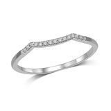 Half-eternity wedding band for woman - 10K white Gold & Diamonds