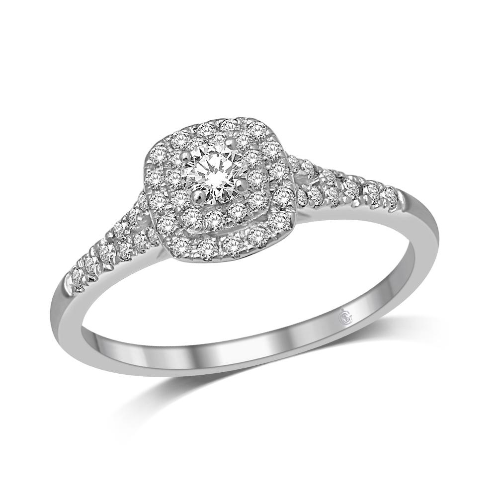 Bague de fiançailles pour femme - Or blanc 10K & Diamants