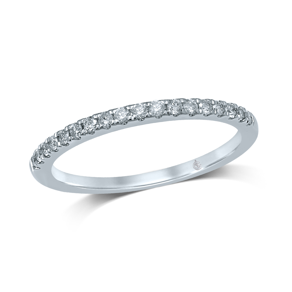 Jonc d'alliances semi-éternité pour femme - Or blanc 14K & Diamants