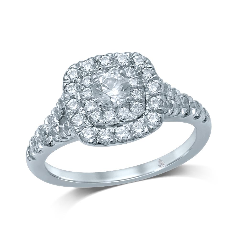 Bague de fiançailles pour femme - Or blanc 14K & Diamants