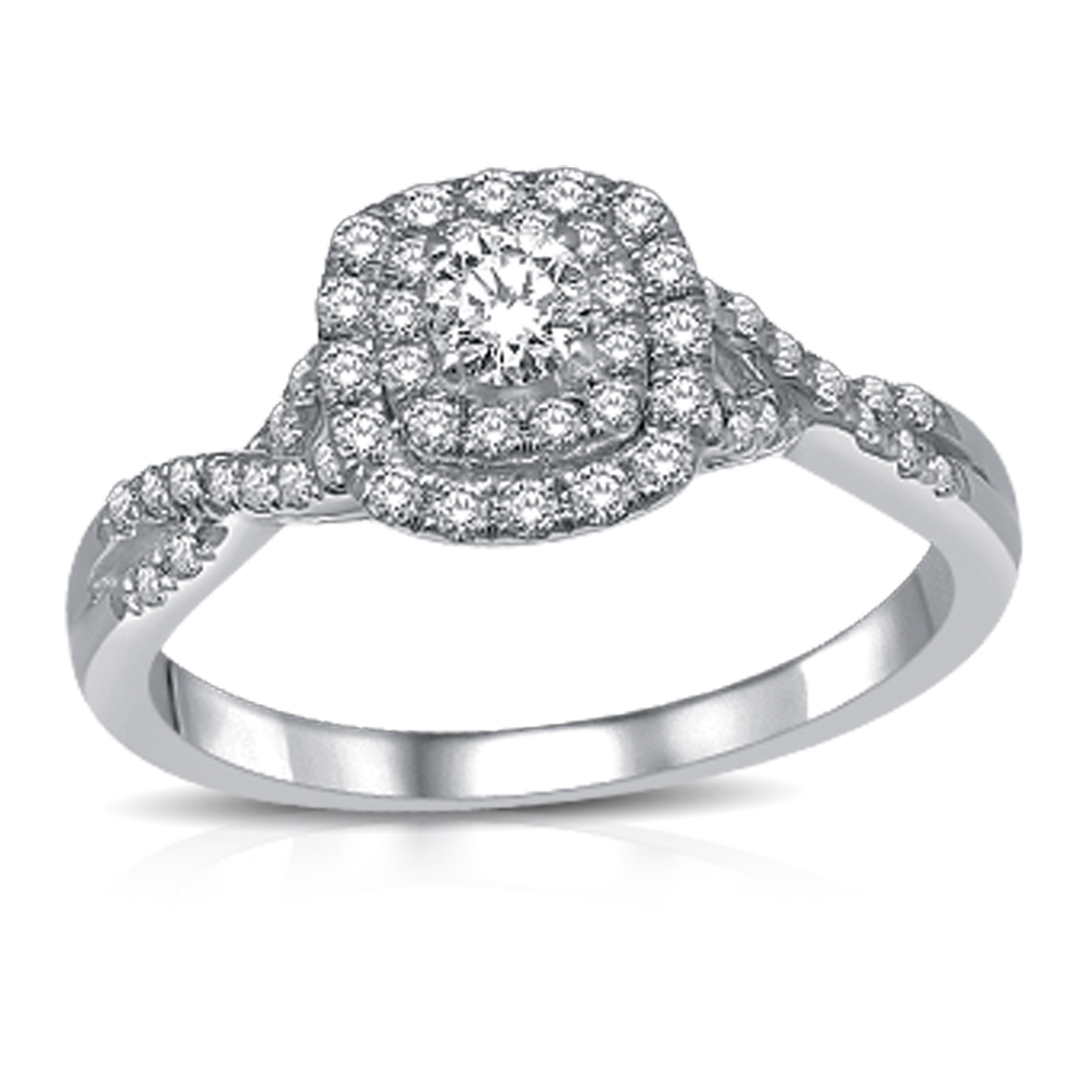 Engagement ring for woman - 14K white gold & Diamonds