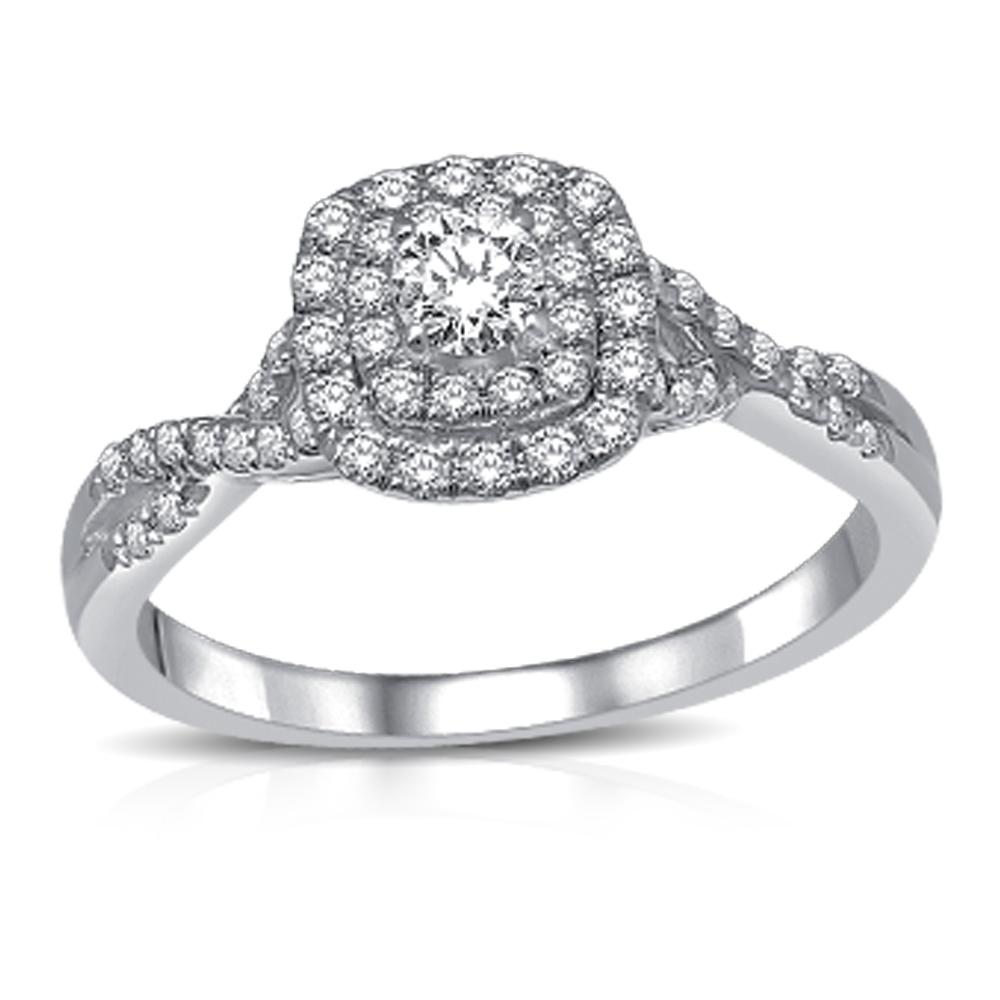 Bague de fiançailles - Or blanc 14K & Diamants totalisant 1.00 carat