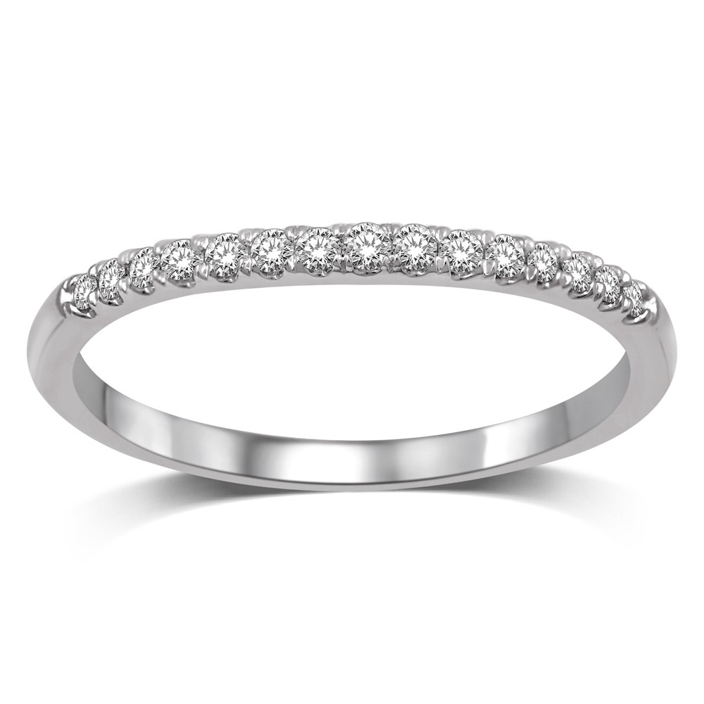 Wedding band - 10K white gold & Diamonds T.W. 0.12 carat