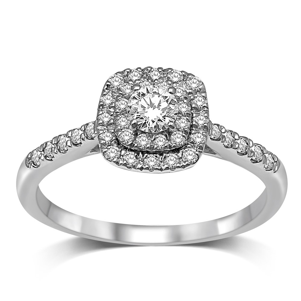 Engagement ring - 10K white gold & Diamonds T.W. 0.50 carat