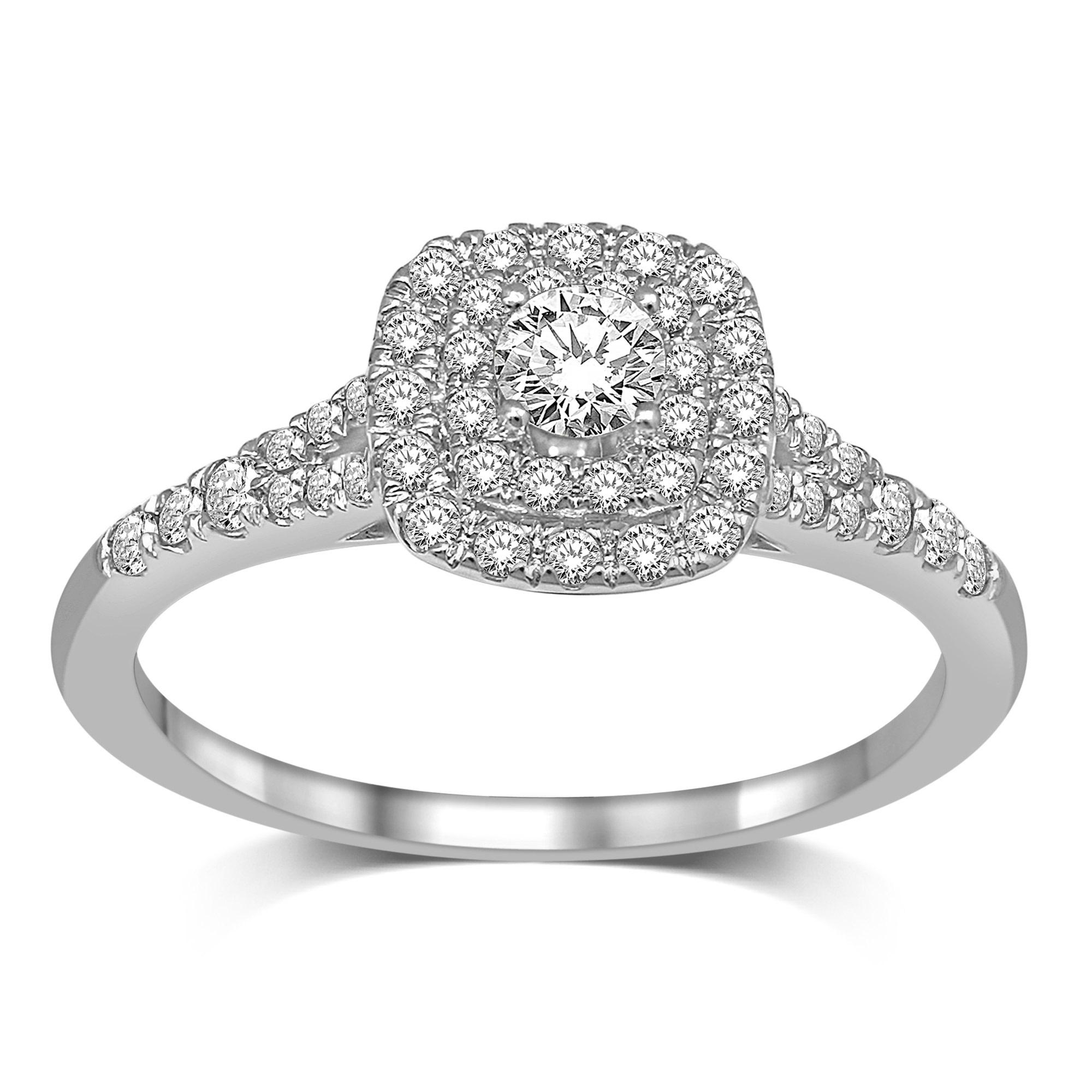 Engagement ring - 10K white gold & Diamonds T.W. 0.50 carat