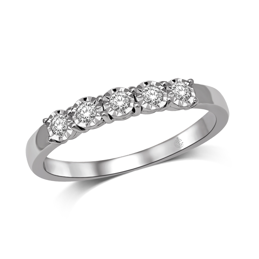 Anniversary band for woman - 10K white gold & Diamonds