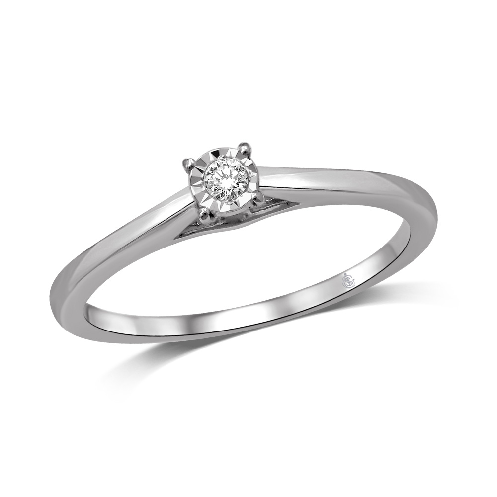Engagement ring - 10K white gold & Solitaire diamond 0.10 carat