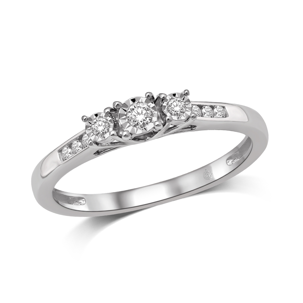 Trinity engagement ring - 10K white gold & Diamonds T.W. 0.25 carat
