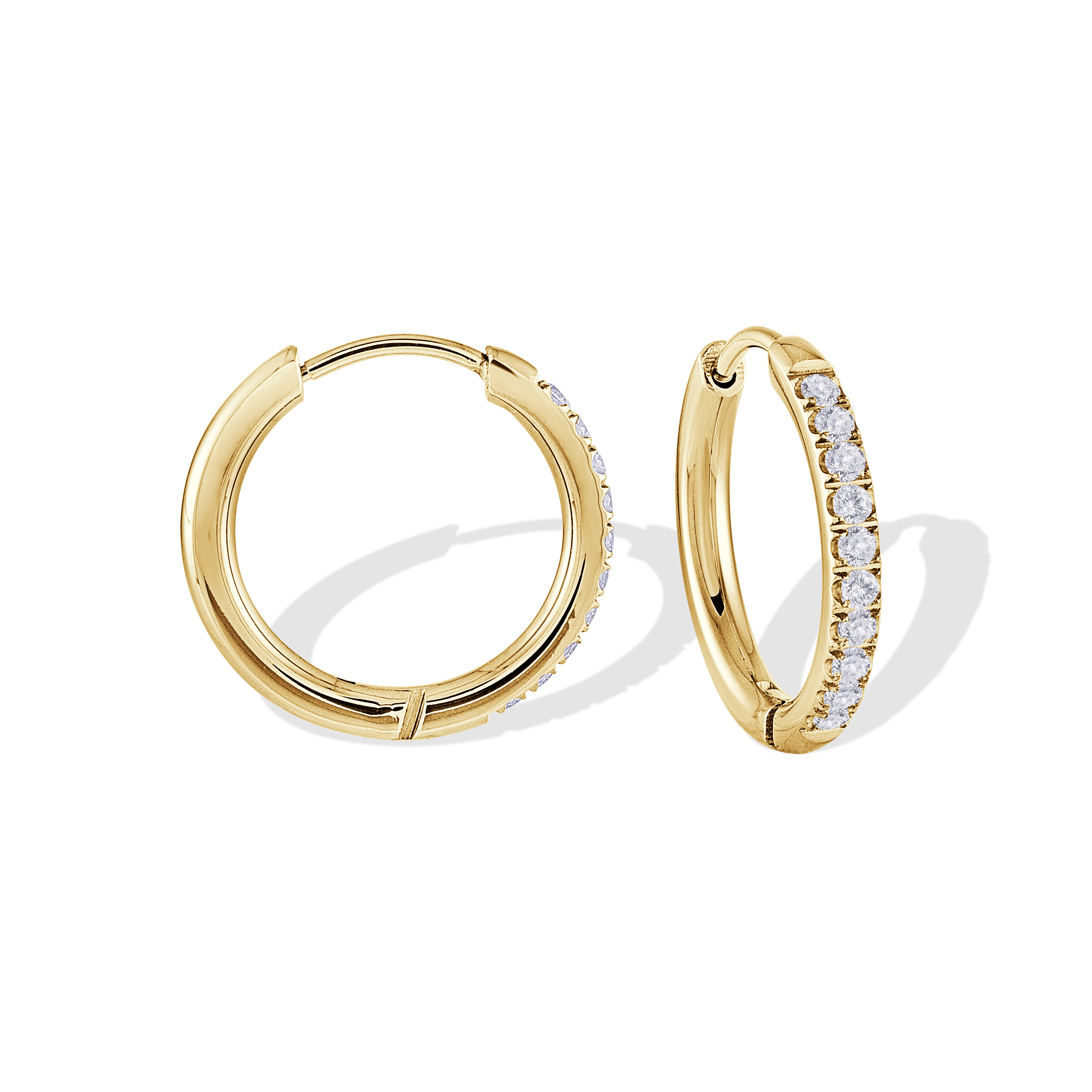 Hoop earrings - Yellow stainless steel & Cubic zirconia