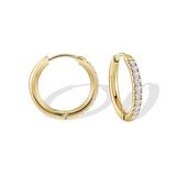 Hoop earrings - Yellow stainless steel & Cubic zirconia