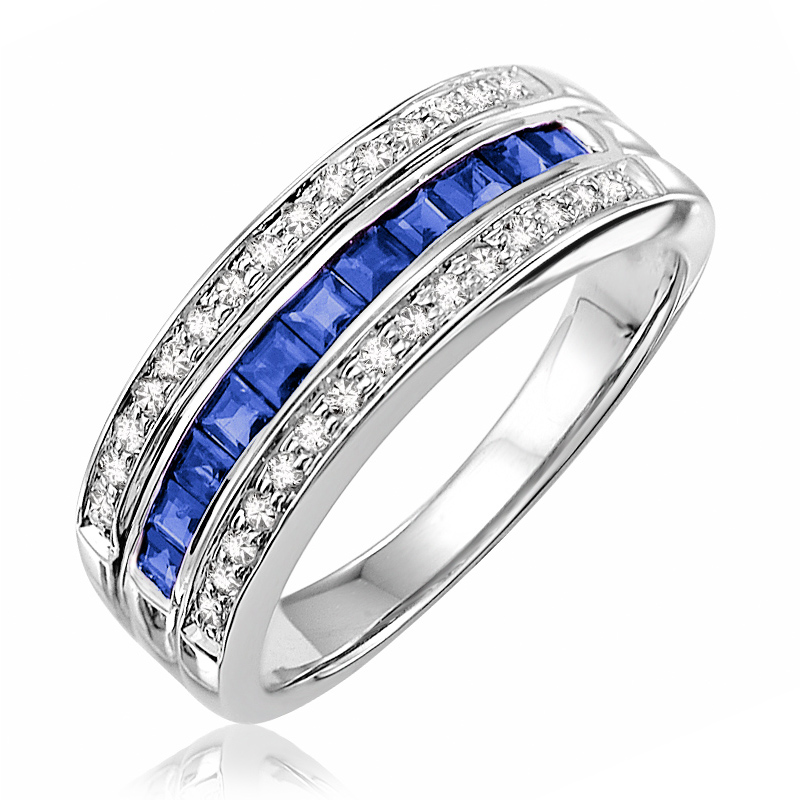 Ring for woman - 10K white gold with Diamonds & Sapphire