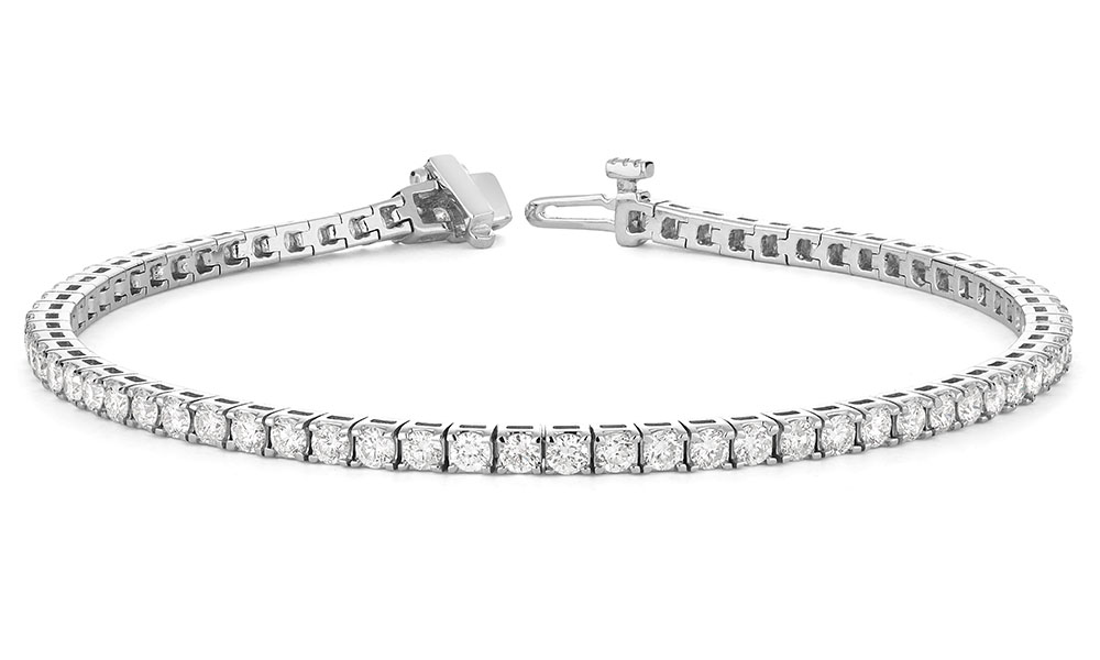 Bracelet tennis pour femme - Or blanc 14K & Diamants totalisant 2.00 carats**