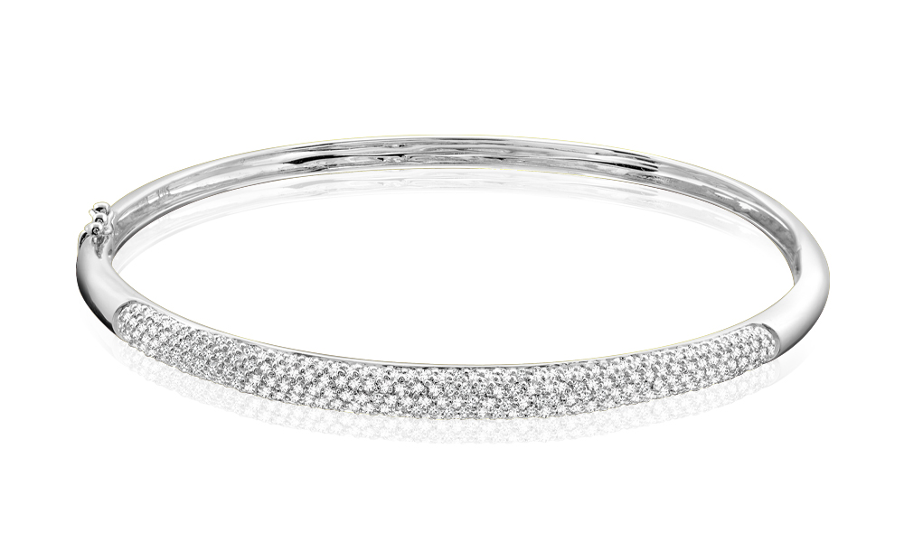 Bracelet rigide pour femme - Or blanc 14K & Diamants totalisant 1.03 carat**