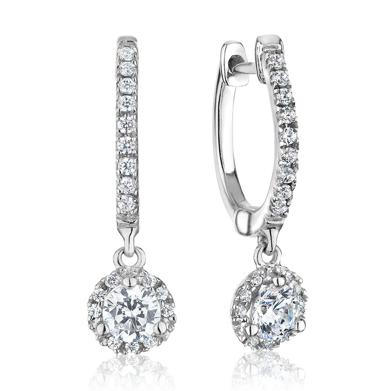 Hoop with charms earrings for woman - 14K white gold & Diamonds T.W. 0.75 carat**