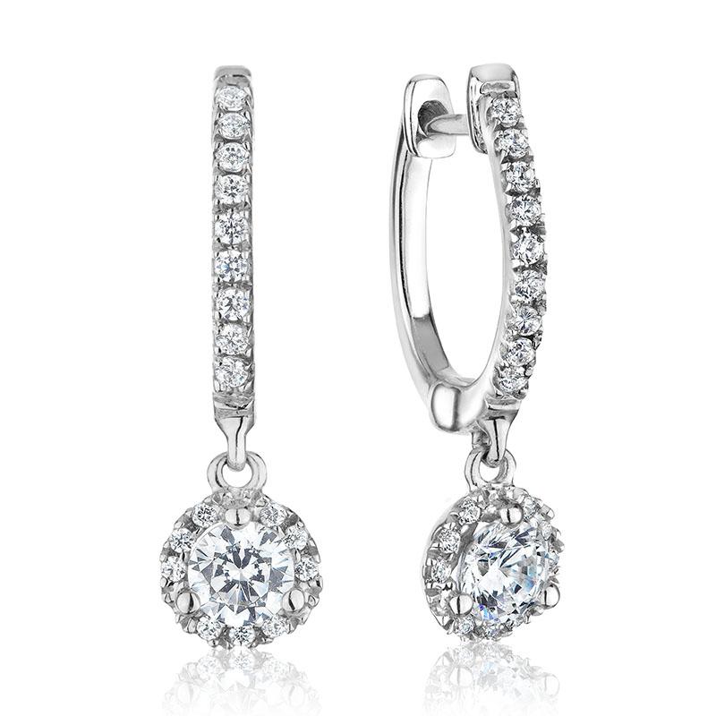 Boucles d'oreilles anneaux avec breloques pour femme - Or blanc 14K & Diamants totalisant 0.75 carat**
