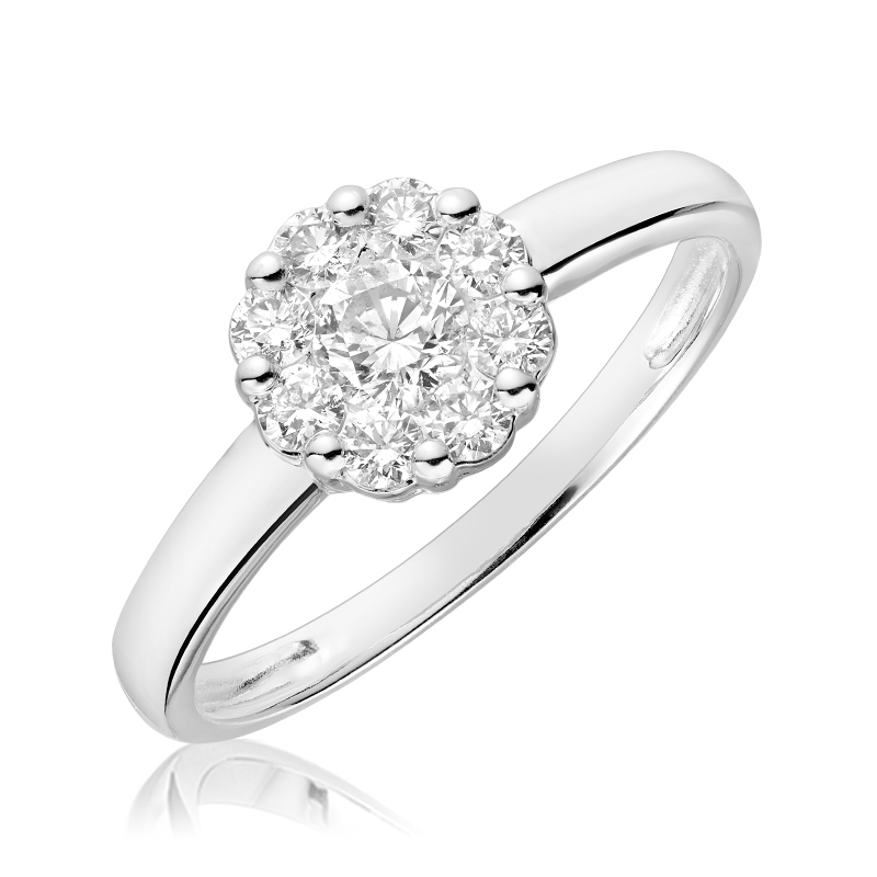 Flower ring for woman - 10K white gold & Diamonds