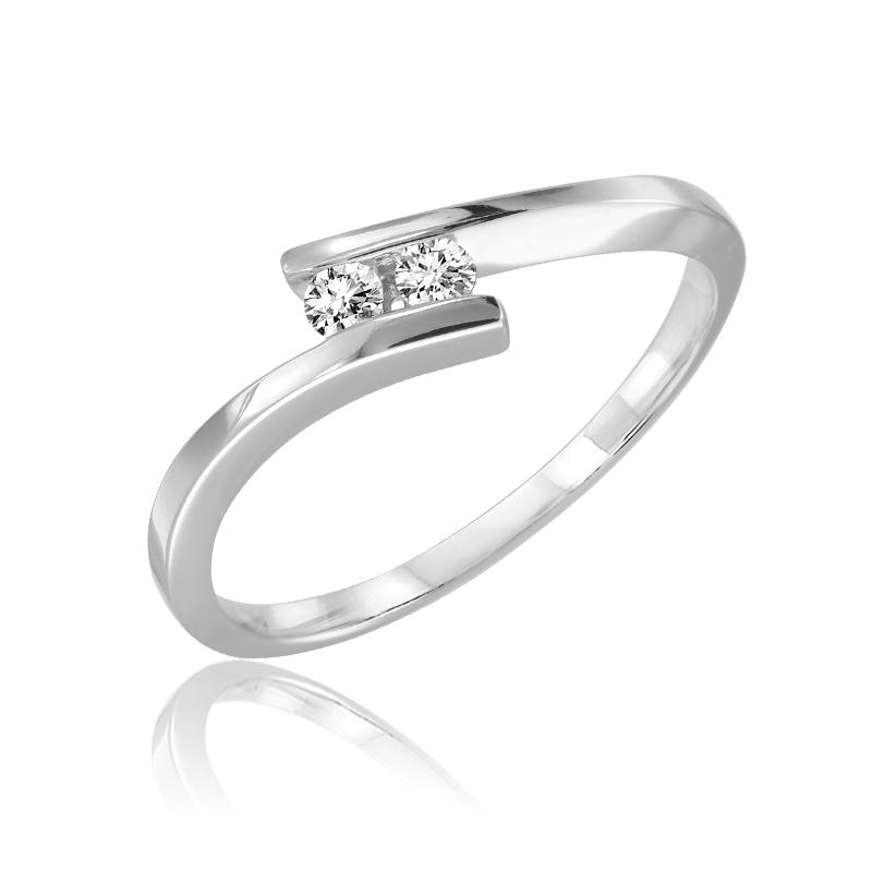 Bague pour femme - Or blanc 10K & Diamants totalisant 0.10 carat