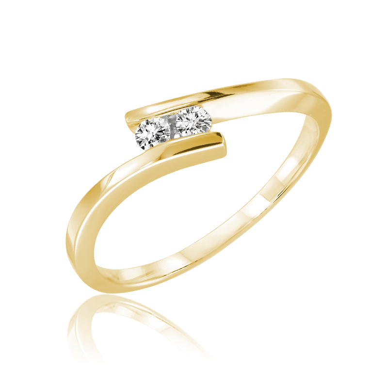 Ring for woman - 10K yellow gold & Diamonds T.W. 010 carat