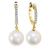Boucles d'oreilles anneaux pour femme - Or jaune 10K avec diamants totalisant 18pts. & Perles blanches