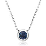 Pendant for woman - 10K white gold & sapphire