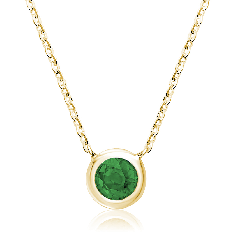 Pendant for woman - 10K yellow gold & Emerald