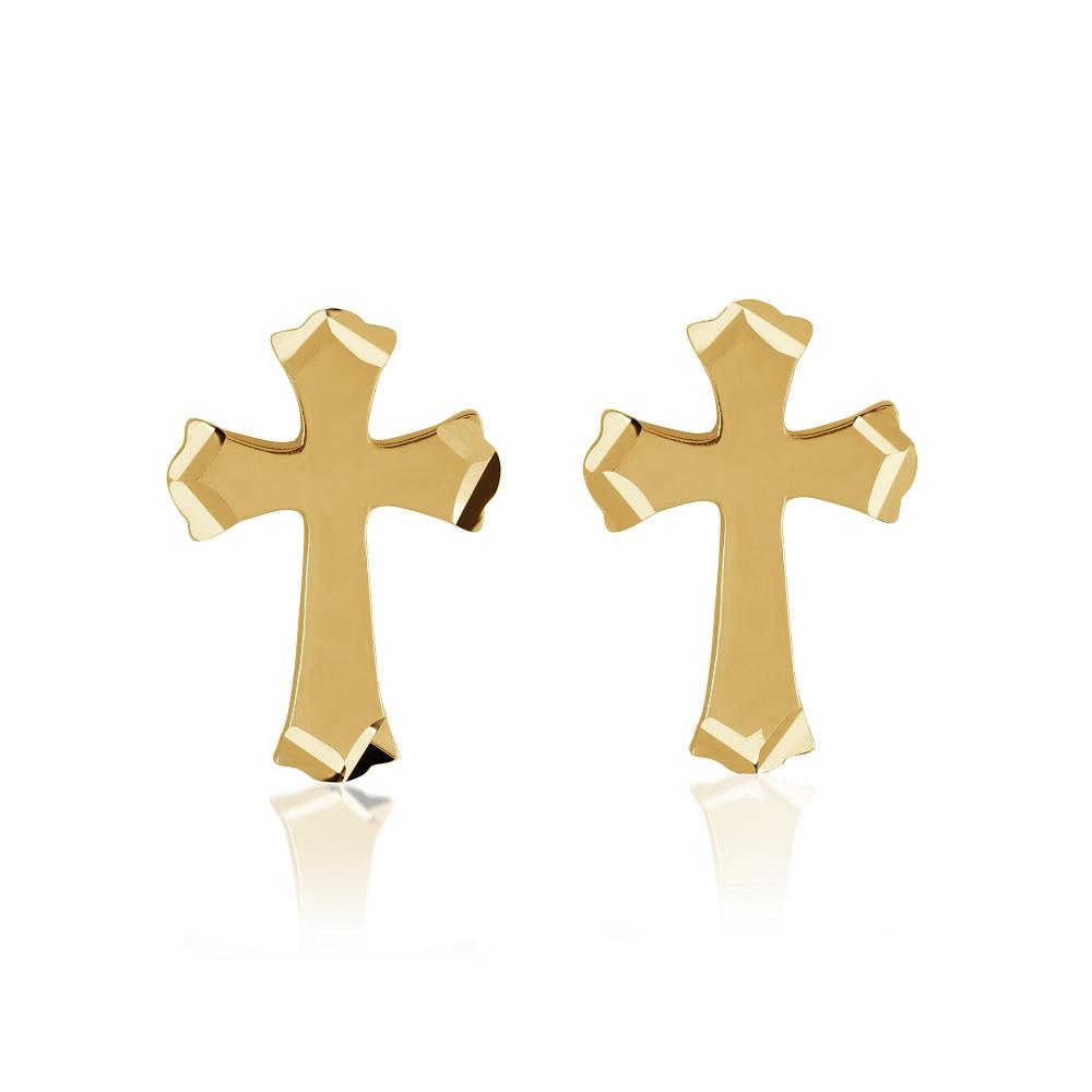 Cross earrings for woman - 10K yellow gold