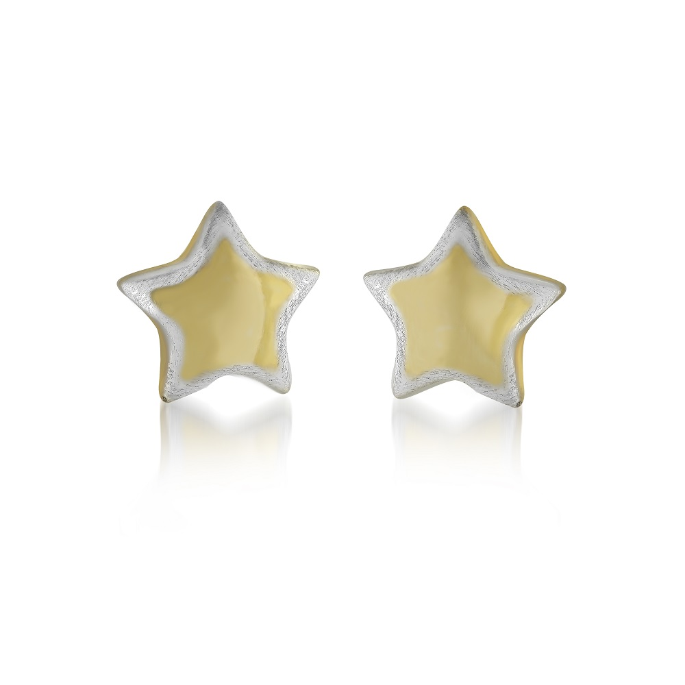Star earrings for woman - 10K 2 tone gold