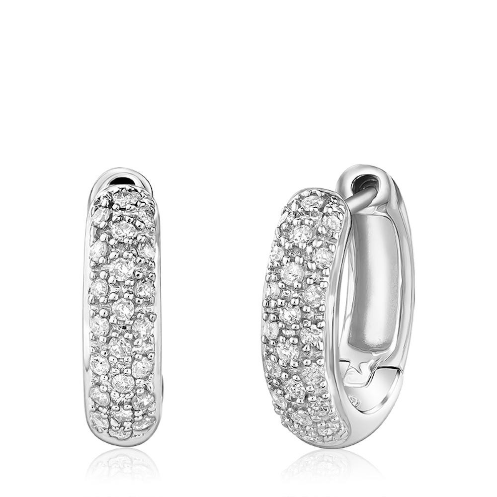 Boucles d'oreilles anneaux pour femme - Or blanc 10K & Diamants totalisant 0.20 Carat